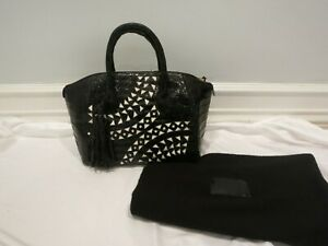 NANCY GONZALEZ black and white leather tote bag