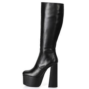 Ellie Tailor EMMY black platform boots with solid wide heel