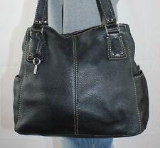 FOSSIL Black Large Leather Shoulder Hobo Tote Satchel Slouch Purse Bag