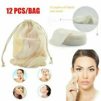 12PC Reusable Facial Cleansing Pads Bamboo Cotton Makeup Remover Pads Face Wipes