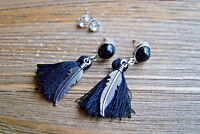 Feather Tassel Earrings Set Rhinestone Dangle Boho Gypsy Cowgirl Fashion Jewelry