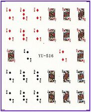 Nail Art Stickers Nail Water Decals Transfer Poker Aces Playing Cards Casino 516