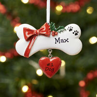 Personalised Family Christmas Tree Decoration Ornament Dog Bone with Bow