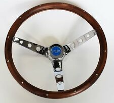"Blazer C10 C20 C30 Chevy Pick Up GRANT Steering Wheel Wood 13 1/2"" Blue Center"