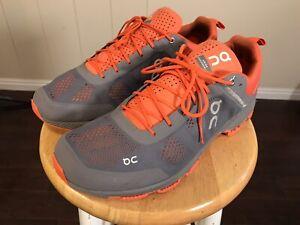 On Cloud Swiss Engineering Technology Orange & Gray Sneaker Running Shoes Sz 13