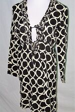 Mud Pie Bag Lady Black White Circle Tunic Dress Swim Beach Cover-Up Linen Size L