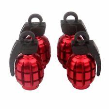 4 Pcs Aluminum RED Bomb Grenade Style Wheel Tyre Tire Valve Stem Cap Cover car