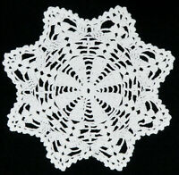 """Vintage crochet round doily 10.3"""" Hand Crocheted lace White Table Linen Floral"""