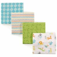 Luvable Friends Boy and Girl Flannel Receiving Blankets, 4-Pack, Alphabet