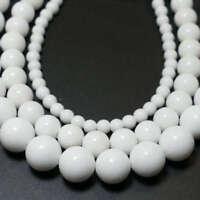 Jade Perlen weiß glänzend 4 - 18 mm, 1 Strang BACATUS Edelstein Kugeln #4559