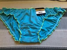 NWT  Size M/6 Silky Blue Ruffle Bikini Panty