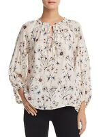 New $150 Velvet Women's Pink Floral Lace-Up Crew-Neck Casual Peasant Top Size XS