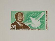 Vintage Stamp Card,REPUBLIC OF CONGO, Color Die Proof Card,1968, Nobel Prize Win