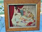 Rare Antique Catholic Deathbed Scene Victorian Needlepoint Tapestry Framed 24x28