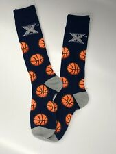 Xavier Musketeers NCAA For Bare Feet Navy With Repeat Basketballs Crew Socks