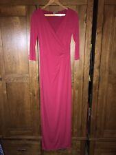 BNWOT ASOS LONG MAXI EVENING DRESS HOT MAGENTA PINK SPLIT SKIRT UK 12