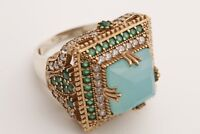 Turkish Jewelry Square Aquamarine Emerald 925 Sterling Silver Ring Size Options