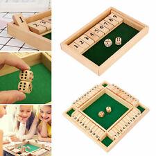 SHUT THE BOX Spiel aus Holz Würfelspiel Klappenspiel Brettspiel Klappbrett NEU