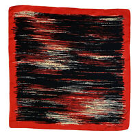 JEAN DUBOIS STRIPES RED LARGE HAND ROLLED Silk Scarf 31/30 Inches