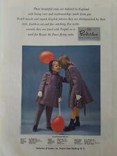 1949 Berkertex of London little girls purple coats balloons vintage fashion ad