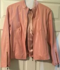 A.M.I. Pink Leather Motorcycle Style Jacket (Small)