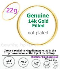 22g Thin 14k Gold Filled Seamless Hoop Ring Nose Ear Septum Tragus Cartilage