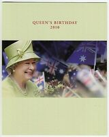 2010 STAMP PRESENTATION PACK 'QUEEN'S BIRTHDAY' WITH MNH MINI SHEET 10 x 55c