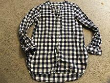 OLD NAVY Tunic Blue Plaid Button Down Long Sleeve Blouse Top Shirt womens Medium