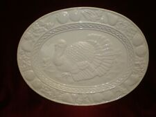 NEW - Large White Ceramic Turkey Thanksgiving Platter - 16 x 12