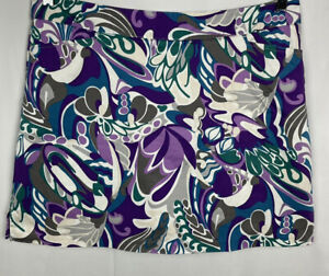 LADY HAGAN Golf Skort Size 14 Paisley Cotton/Spandex Lined Skirt Back Zip