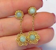Fanciful! Chinese Gilt Gold Sterling Silver Icy Jade Dangle Flower Earrings