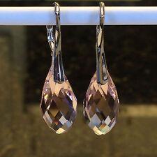 925 Solid Sterling Silver Australian Crystal 20mm Leverback Earrings  12 Options