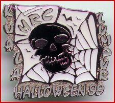Hard Rock Cafe KUALA LUMPUR 1999 HALLOWEEN PIN Black SKULL in SPIDER WEB #4306