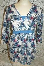 Womens Tie Back Smock BOBBIE BROOKS V Neck RETRO BLUE FLORAL  Small 6 Shirt