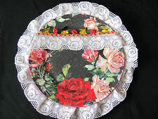 HANDMADE DECORATIVE CERAMIC PLATE ACRYL MULTI COLORS GIFTLACE+ FABRIC FLOWERS