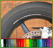 8 x DUCATI HYPERSTRADA Wheel Rim Stickers Decals - Many Colours - 821 cc