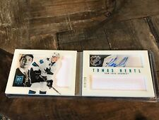 2013-14 Playbook TOMAS HERTL Auto Shadowbox 2 Patch Rookie Booklet 10/199 SHARKS