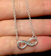 925 Sterling Silver plated Infinity Necklace Bridesmaid gift Jewellery FREE BOX