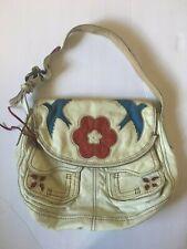 Lucky Brand Italian leather stash bag purse red white blue dove flower applique
