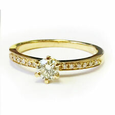 Cocktail Excellent Cut Round Yellow Gold Fine Diamond Rings