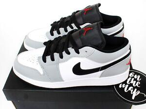 Nike Air Jordan 1 Low Light Smoke Grey Red White Black GS UK 3 4 5 6 7 US New