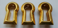 3 Vintage Stamped Brass Insert Keyhole Covers Escutcheon New Old Stock