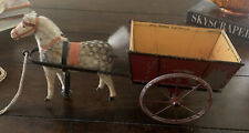 Antique Made In Germany Flocked Horse And Cart Wagon Pull Toy