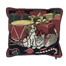 Newport Christmas Holiday Dog and Cat with Presents Toy Drum Throw Pillow