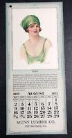 1925 Pretty Lady Flapper Girl Calendar Sign Munn Lumber Pittsburgh Duncan
