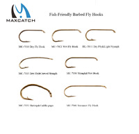 Maxcatch 100pcs 4#-22# Barbed Fly Fishing Hooks Dry&Wet&Nymph&Shrimp Fly Hooks