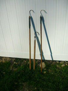 3 Old Fishing Hook Gaffs-Wood Handle-2 and 3 Foot Long, All in Good Condition