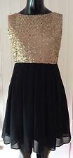 Gold Sequins / Black MINI DRESS - Size 8 - TFNC - Wedding - Party - Prom