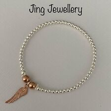 STERLING SILVER 925 BEADED STRETCH STACKING BRACELET ROSE GOLD ANGEL WING CHARM