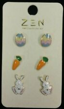 Nature's Jewelry Set Of 3 Enameled Goldplate Easter Post Earrings